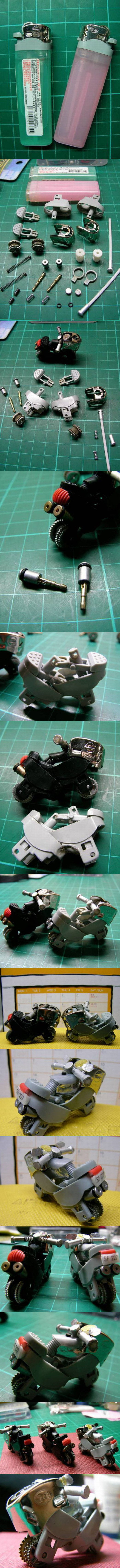 Amazing Transformation from common lighters to Miniature Motorbikes!