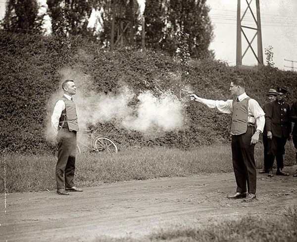 5.) A brave man testing out a new bulletproof vest.