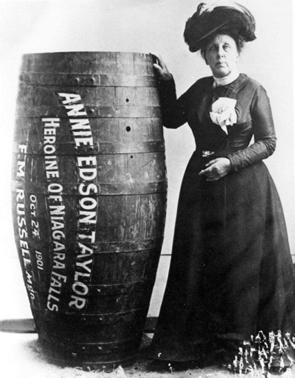 10.) Annie Edison Taylor, who was the first person to survive going over Niagra Falls in a barrel in 1901.