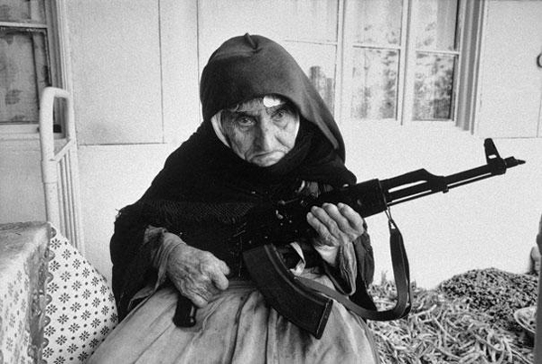 11.) In 1990, a 106 year-old Armenian woman guards her house with an automatic weapon.
