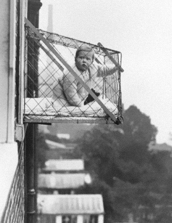 12.) These baby cages were used in apartments in the 1930s to make sure the child got enough fresh air and sunlight. And danger.